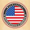 Vintage-Label-Karten der Vereinigten Staaten von Amerika-Flagge