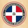 Vintage-Label-Karten der Dominikanischen Republik Flagge