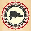 Vintage-Label-Aufkleber Karten der Dominikanischen Republik