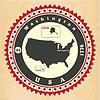 Vintage-Label-Aufkleber Karten der Vereinigten Staaten von