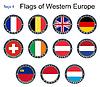 Flaggen von Westeuropa. Flaggen