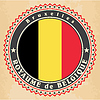 Vintage-Label-Karten von Belgien Flagge