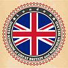 Vintage-Label-Karten von Großbritannien Flagge