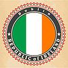 Vintage-Label-Karten von Irland Flagge | Stock Vektrografik