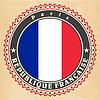 Vintage-Label-Karten von Frankreich Flagge | Stock Vektrografik