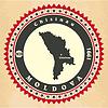 Vintage-Label-Aufkleber Karten Moldau