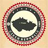 Vintage-Label-Aufkleber Karten der Tschechischen Republik