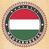Vintage-Label-Karten von Ungarn Flagge