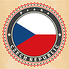 Vintage-Label-Karten Flagge der Tschechischen Republik