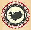 Vintage-Label-Aufkleber Karten von Island