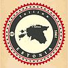 Vintage-Label-Aufkleber Karten Estland