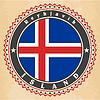 Vintage-Label-Karten von Island-Flagge