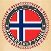 Vintage-Label-Karten von Norwegen-Flagge | Stock Vektrografik