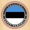 Vintage-Label-Karten von Estland-Flagge