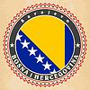 Vintage-Label-Karten von Bosnien und Herzegowina Flagge
