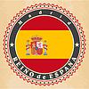Vintage-Label-Karten von Spanien-Flagge