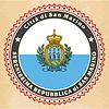 Vintage-Label-Karten von San Marino-Flagge