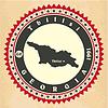 Vintage-Label-Aufkleber Karten von Georgien