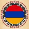 Vintage-Label-Karten von Armenien-Flagge