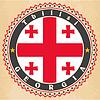 Vintage-Label-Karten von Georgien Flagge