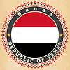 Vintage-Label-Karten Jemen Flagge
