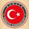 Vintage-Label-Karten von Türkei-Flagge