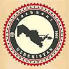 Vintage-Label-Aufkleber Karten Usbekistan