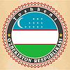 Vintage-Label-Karten Usbekistan Flagge