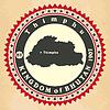 Vintage-Label-Aufkleber Karten-Königreich Bhutan