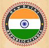 Vintage-Label-Karten von Indien-Flagge