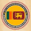 Vintage-Label-Karten von Sri Lanka Flagge