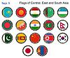 Flaggen der Mittel-, Ost-und Süd-Asien. Flaggen