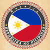 Vintage-Label-Karten von Philippinen Flagge