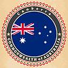 Vintage-Label-Karten von Australien Flagge | Stock Vektrografik
