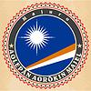 Vintage-Label-Karten Flagge der Marshall-Inseln