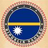 Vintage-Label-Karten von Nauru Flagge
