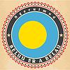 Vintage-Label-Karten von Palau Flagge