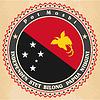 Vintage-Label-Karten von Papua-Neuguinea Flagge