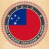 Vintage-Label-Karten von Samoa Flagge