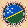 Vintage-Label-Karten der Salomonen Flagge