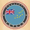 Vintage-Label-Karten von Tuvalu Flagge