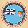 Vintage-Label-Karten Flagge von Fidschi