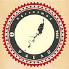 Vintage-Label-Aufkleber Karten von Palau