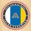Vintage-Label-Karten Kanarischen Inseln Flagge