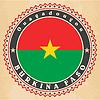 Vintage-Label-Karten von Burkina Faso Flagge