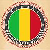 Vintage-Label-Karten von Mali Flagge