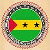Vintage-Label-Karten von Sao Tome und Principe Flagge