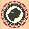 Vintage-Label-Aufkleber Karten von Lesotho