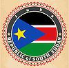 Vintage-Label-Karten von Süd-Sudan Flagge