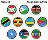 Flaggen der Welt. Ostafrika